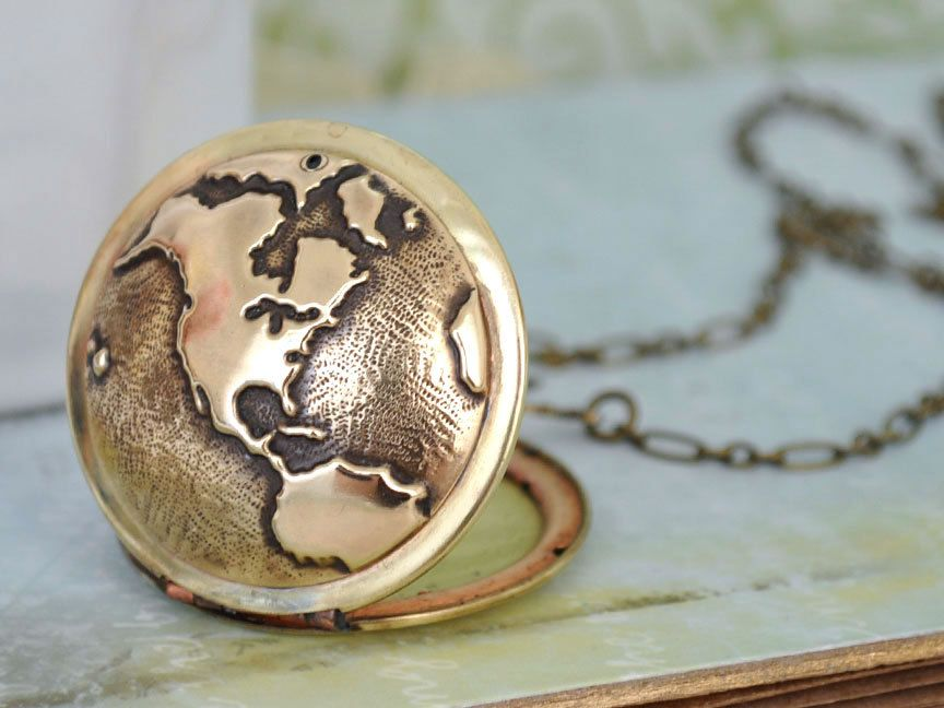 Vintage style locket necklace travel the world globe locket travel the world vintage brass locket necklace with world map globe 3450 via etsy gumiabroncs Gallery