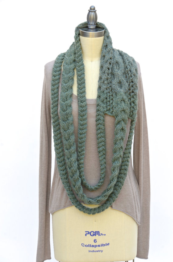 Triple Plait Infinity Scarf PDF Knitting Pattern Instant Download ...
