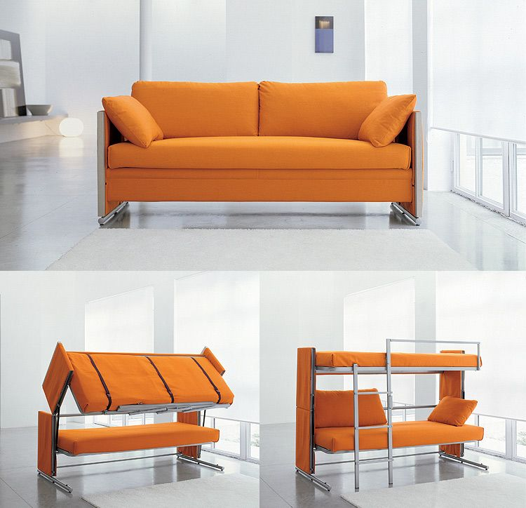 The Bonbon Doc Bunk Bed. The sofa transforms into a double decker bed!  Obviously