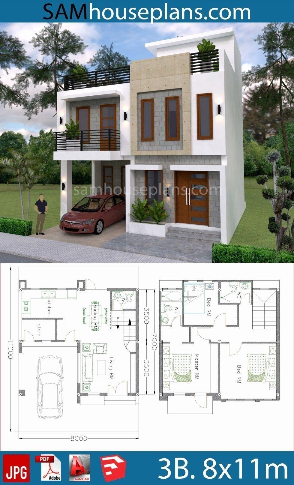 Duplex Home Design Plans 3d New House Plans 8x11m With 3 Bedrooms Sam House Plans Model House Plan House Construction Plan Indian House Plans