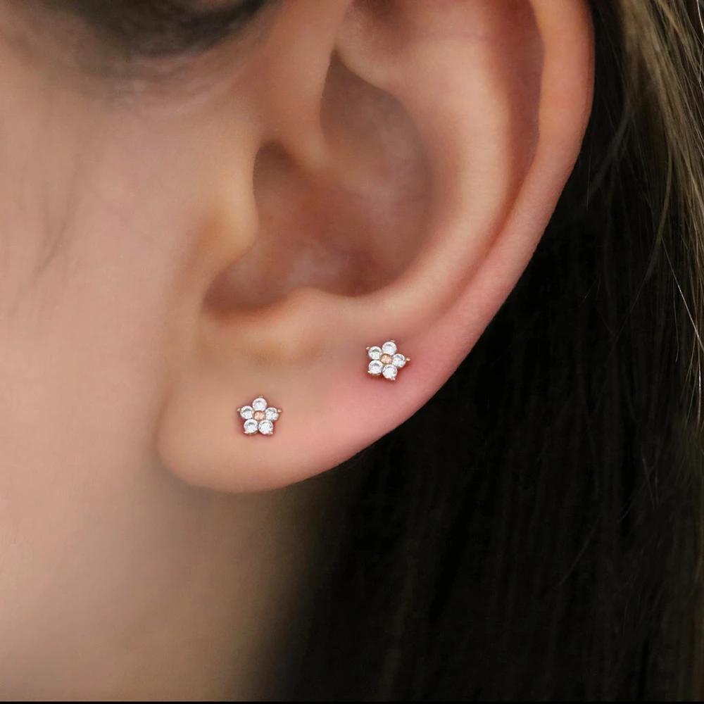 Tiny Horn Stud Earring Sideways Horn Earring Half Moon Earring Minimalist Sterling Silver Earring Small Moon Earring 2nd Hole Earring,