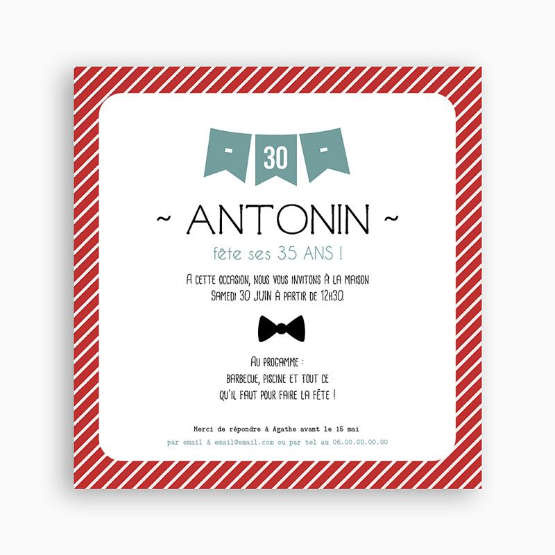 Super Invitation Anniversaire Adulte - Fanions | Carteland.com  WR33