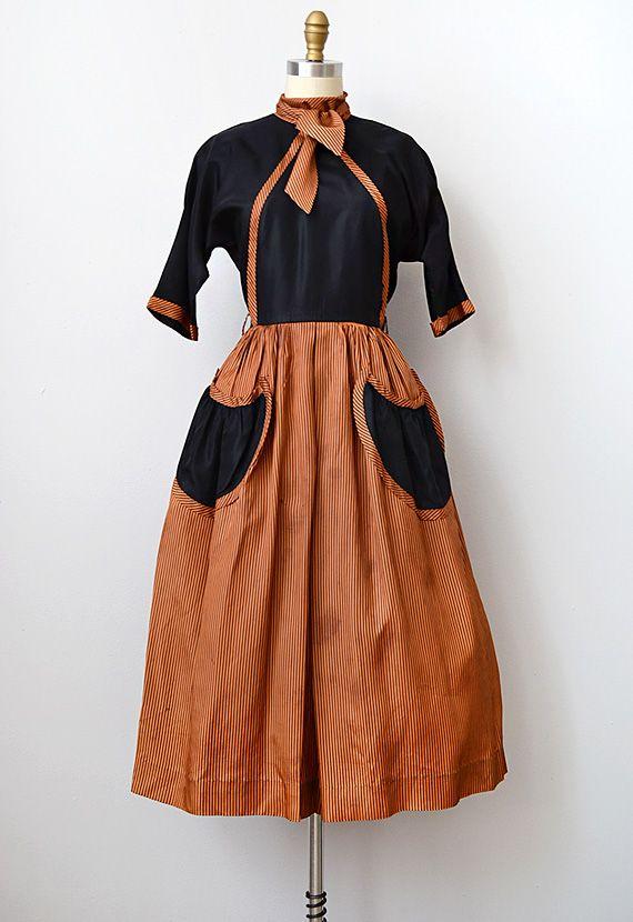 vintage 1950s black orange silk party dress \ measurements(S) | 46 ...