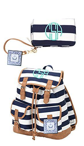 Personalized Campus Backpack and Wristlet Bundle in Navy Stripe >>> To view further for this item, visit the image link.