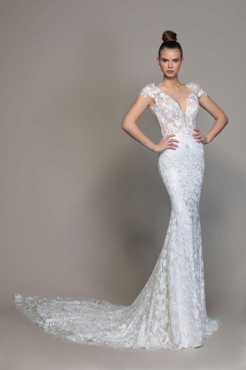 Floral lace cap sleeve fit and flare wedding gown