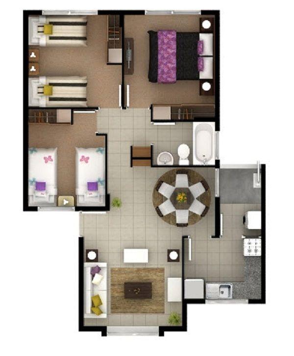 63m2 3 dormitorios | Planos de Casas Pequeñas | Pinterest | House ...