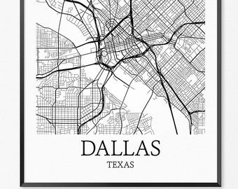Dallas Map, Dallas Art, Dallas Print, Dallas TX Poster, Dallas