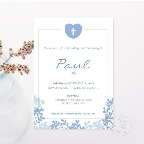 image about First Communion Cards Printable identify Baptism Invitation / Christening invitation / Initial