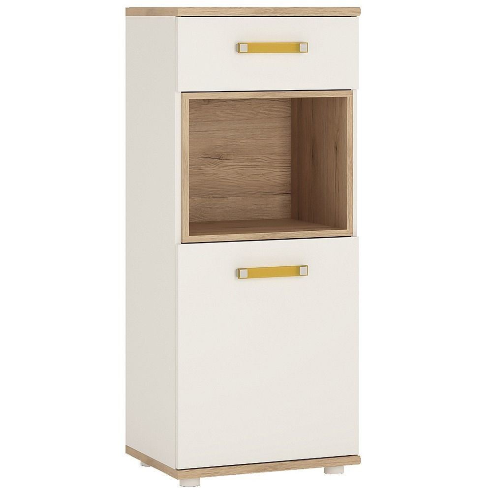 Kids Door Drawer Narrow Cabinet in Light Oak u White High