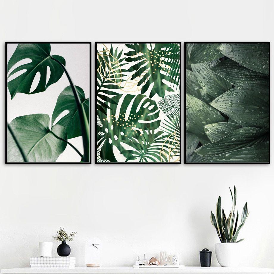 Leafy prints wall art print canvas painting fresh green
