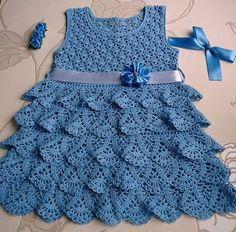 dbe33fdcc9fa Vestido infantil em crochê. Vestido infantil em crochê Vestidos De Crochê  Para Bebês ...