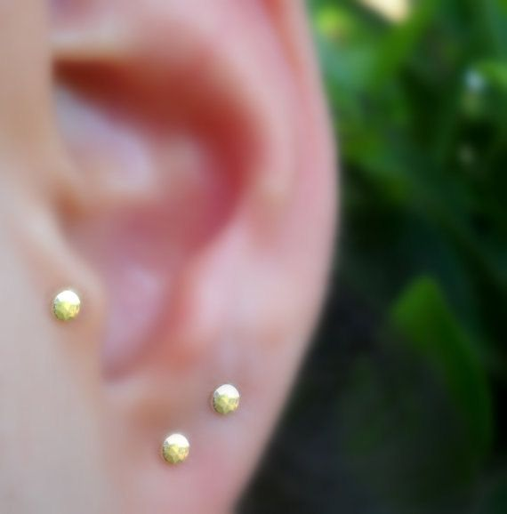 2f1882638 Gold Studs - 14K Solid Yellow Gold Stud Earrings - Cartilage Earrings - Tragus  Earrings - ONE PAIR o
