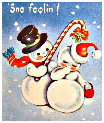 Snowman Snow Woman W Candy Cane Mistletoe Vintage Christmas Card 34