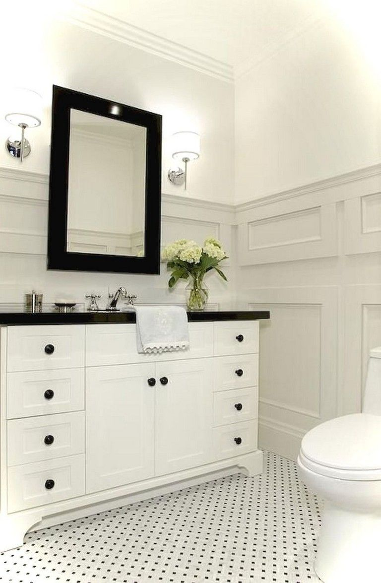 39 Elegant Black White Bathroom Design Ideas Black White Bathrooms Bathroom Interior Design Bathroom Design Small