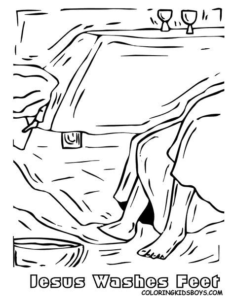 Jesus Washes The Disciples Feet Coloring Page | church lady | Pinterest