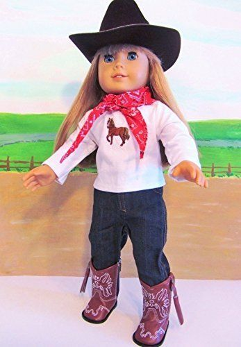 Cowboy Hat Western Skirt Set /& Boots for 18 inch American Girl Doll Clothes