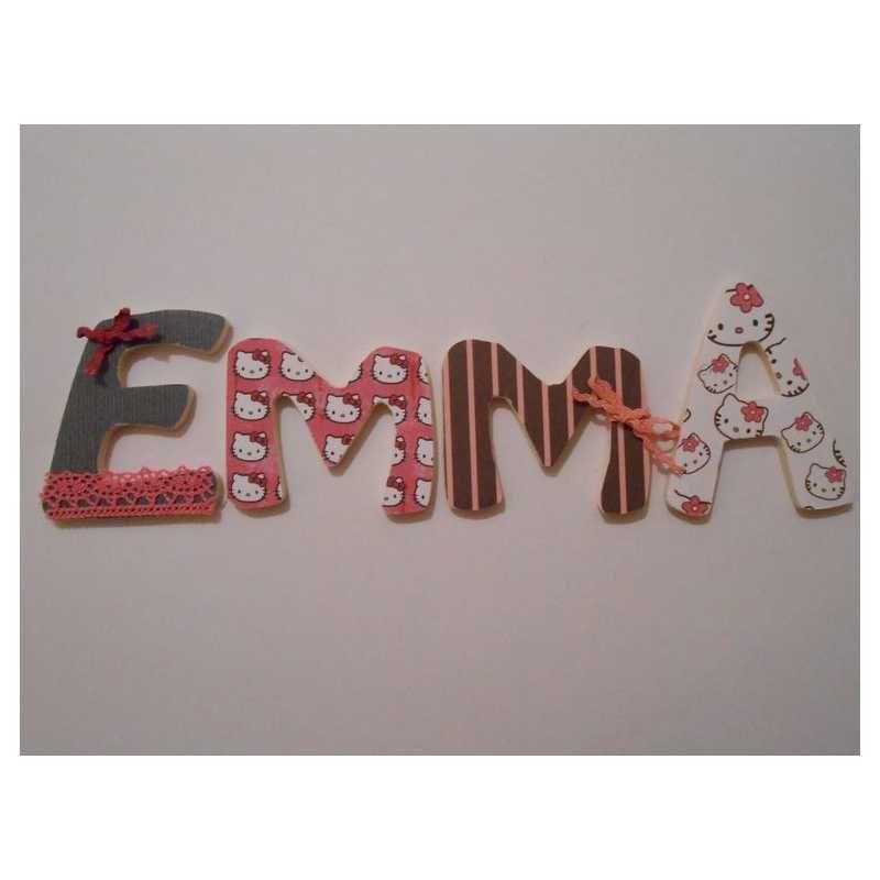 Prénom avec lettres en bois personnalisables : exemple EMMA