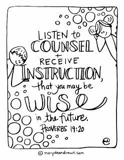 When Parents Disagree The Listen To Counsel Bible Verse Coloring Page Marydean
