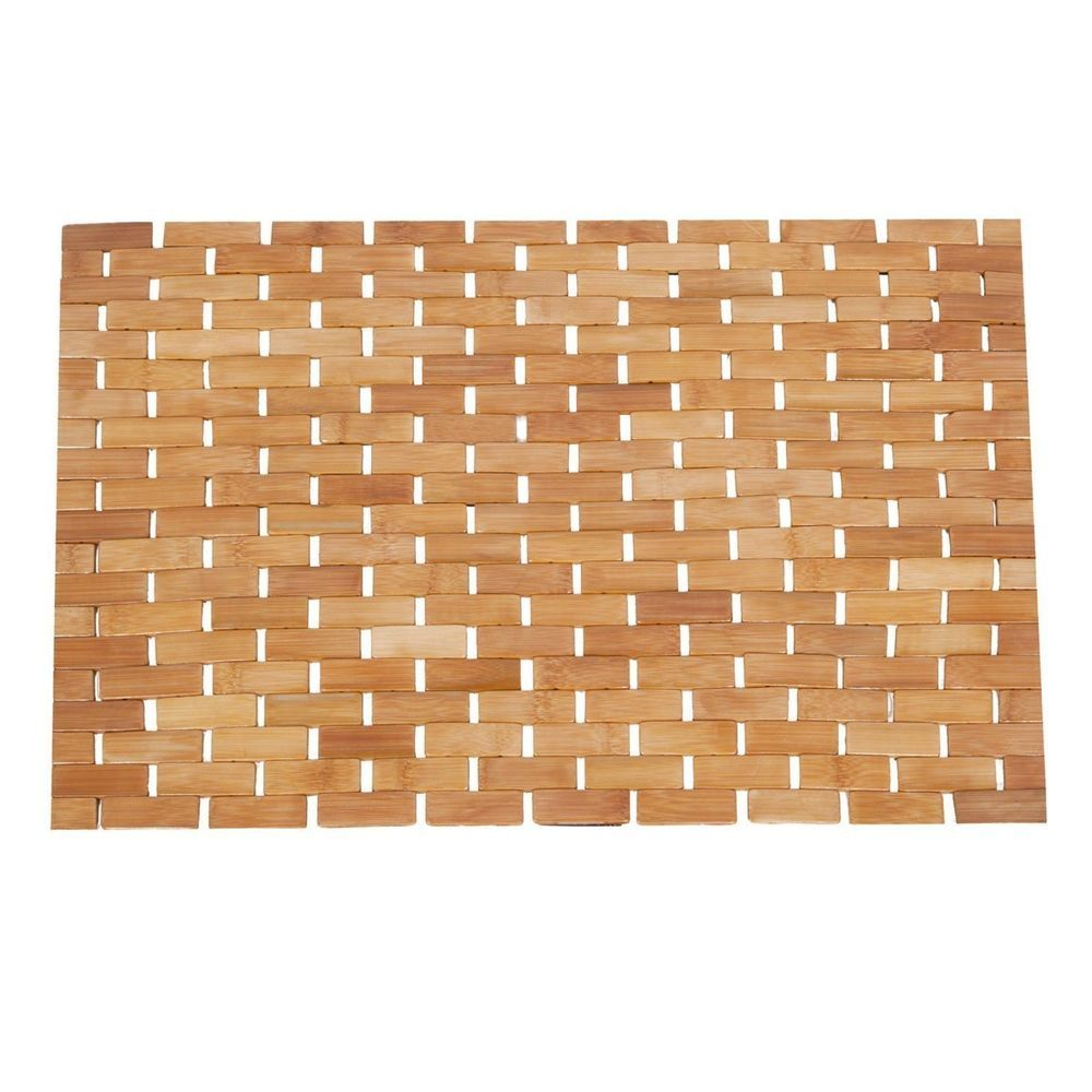 Bamboo Wood Floor Mat Bath Shower Spa Sauna Roll Up Non Slip Rug Bathroom Welcare Nature