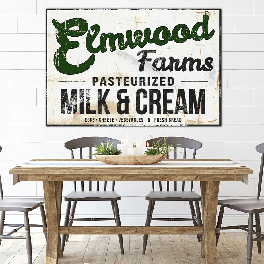 Elmwood Farms Farmhouse Decor Vintage Sign Canvas Art Canvas Wall Art Kitchen Wall Decor Farmhouse Decor Farmhouse Kitchen Signs