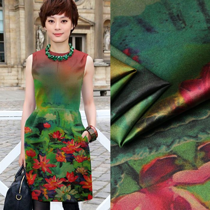 a233093238f65 135*118cm 19mm 93% silk & 7% spandex red floral print green stretch ...