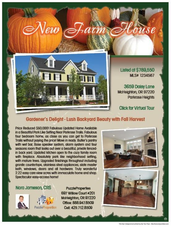Pumpkin  Real Estate Flyer Sample  Zip Your Flyer  Real Estate