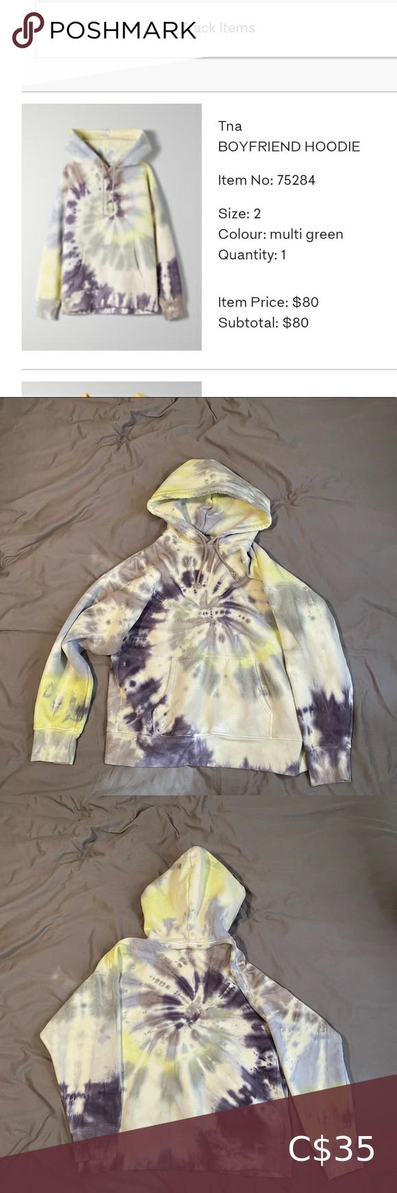 Tna Boyfriend Hoodie Tie Dye Size 2 Boyfriend Hoodie Pink Crew Neck Sweater Backless Sweater [ 1740 x 580 Pixel ]
