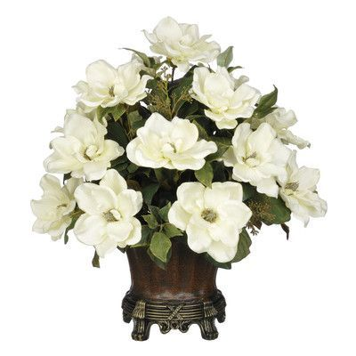 House of silk flowers artificial magnolia with bay leaves urn color house of silk flowers artificial magnolia with bay leaves urn color brown flower color mightylinksfo