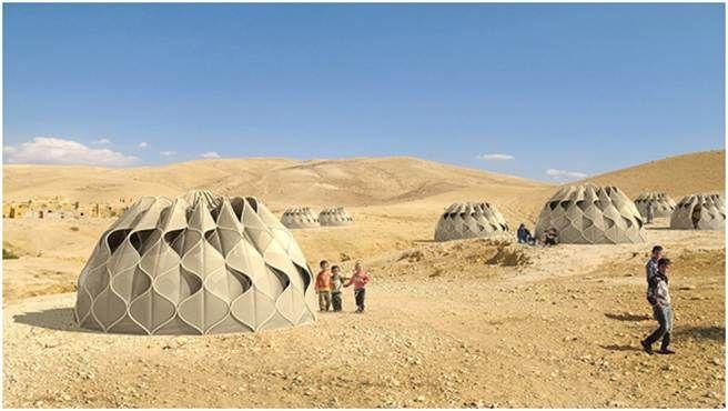 沙克利發明的帳篷,名為「編織一個家」,希望能改善各地的難民生活。(圖/metro)