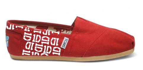Red 1d Logo Toms Toms Canvas Shoes 1d Logo Toms