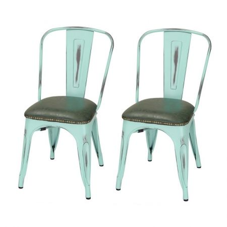 Joveco Tolix Style PU Cushion Top Metal Dining Chairs Set Of 2 Blue Jov