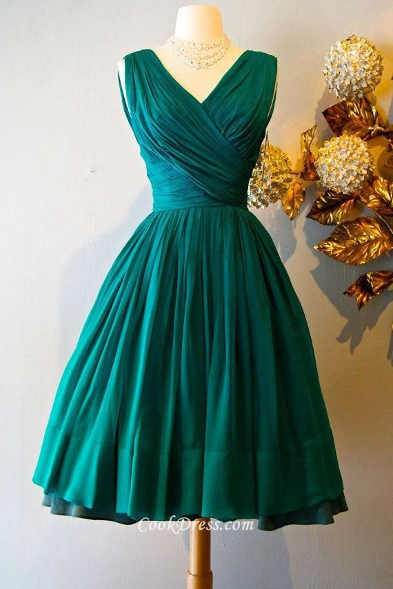 Teal Bridesmaid Dress V-Neck Satin and Lace