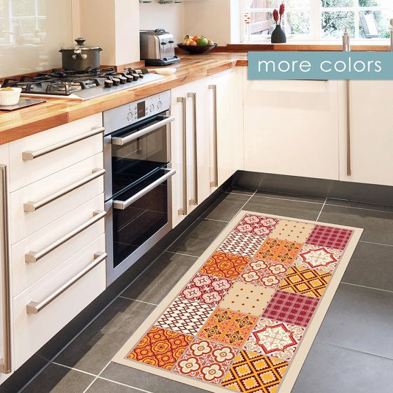 Printed Vinyl Rug Linoleum Mat With Mixed Tile Pattern In Warm Colors Kitchen Rug Doormat Runner Rug Area Rug Art Mat Trendy Kitchen Tile Vinyl Rug Eclectic Tile
