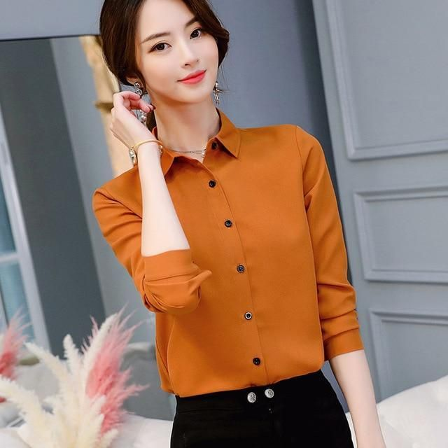 343e8e888fdc Spring Summer Women Tops Long Sleeve Casual Chiffon Blouse Female V-Neck  Work Wear Solid