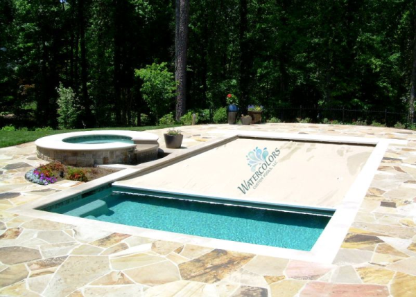 Traditional small outdoor design with automatic retractable pool covers in pool pinterest for Retractable swimming pool covers