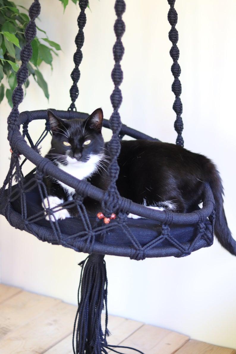 Cat Bed Hammock For Cat Macrame Cat Hammock In 2020 Cat Hammock Macrame Hammock Cat Bed