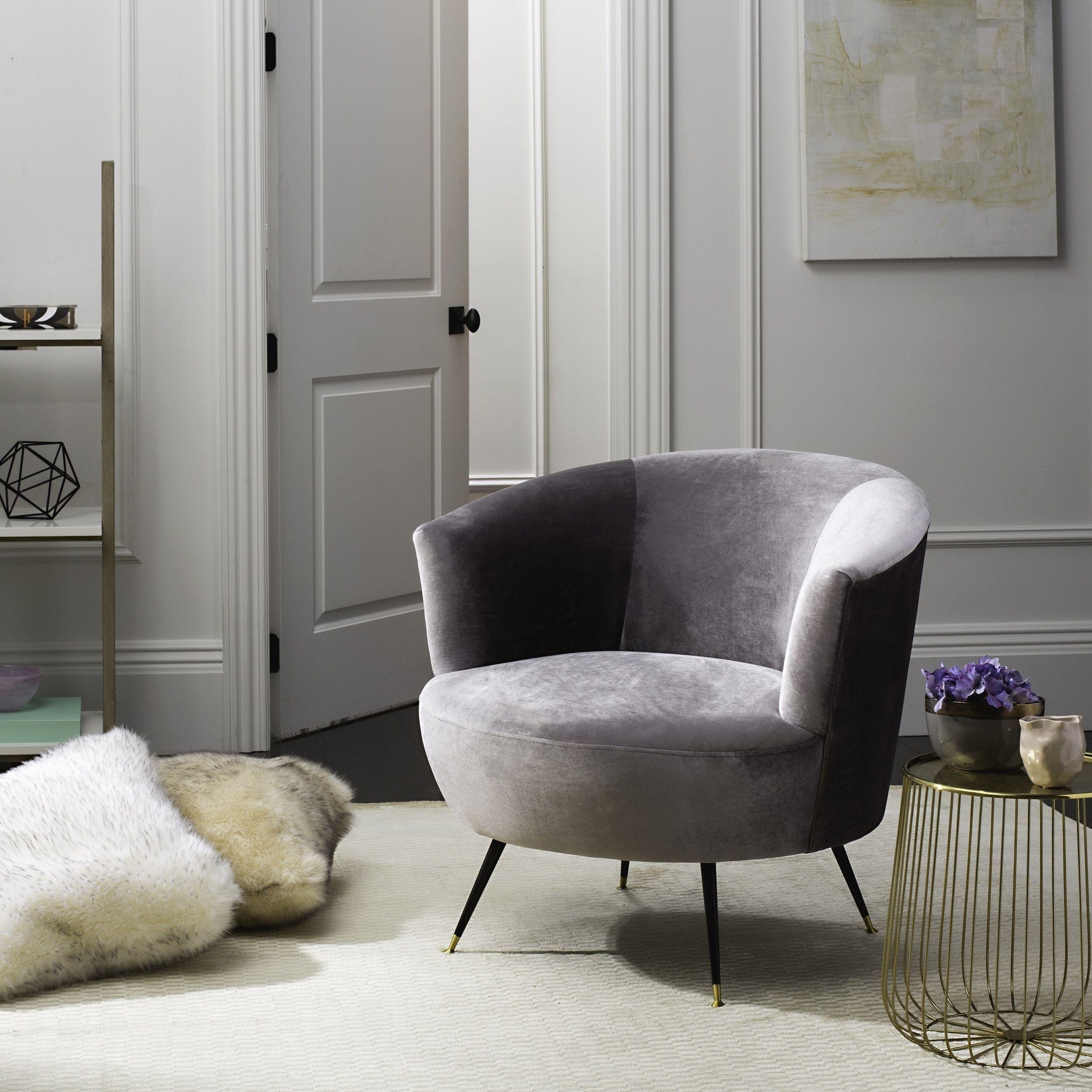 Safavieh Mid Century Modern Retro Arlette Velvet Grey Club Chair In