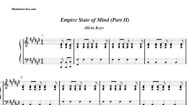 Empire State Of Mind Sheet Music Alicia Keys Piano Sheet Music