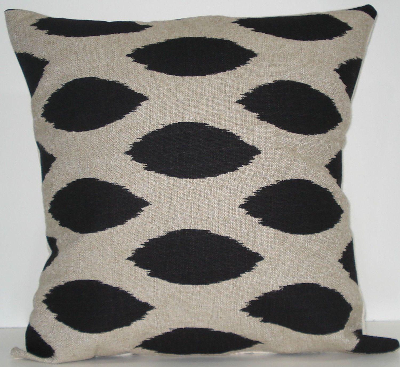 New x inch designer handmade pillow case black ikat fabric
