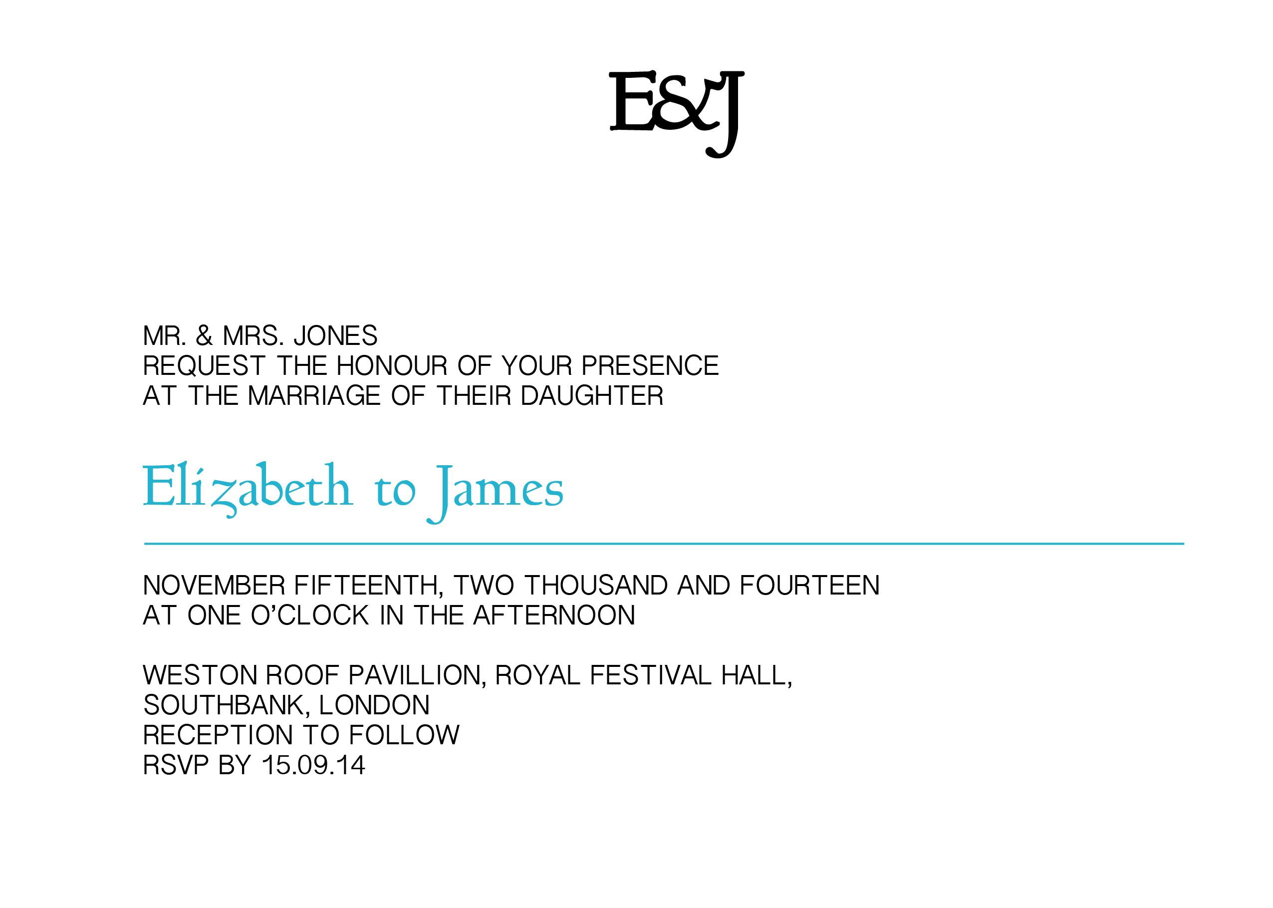 Monogram Classic - Invite - #Wedding Stationery - colours can be amended