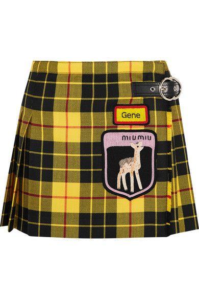 493bfeae63 Miu Miu - Appliquéd tartan wool mini skirt | Products | Plaid ...