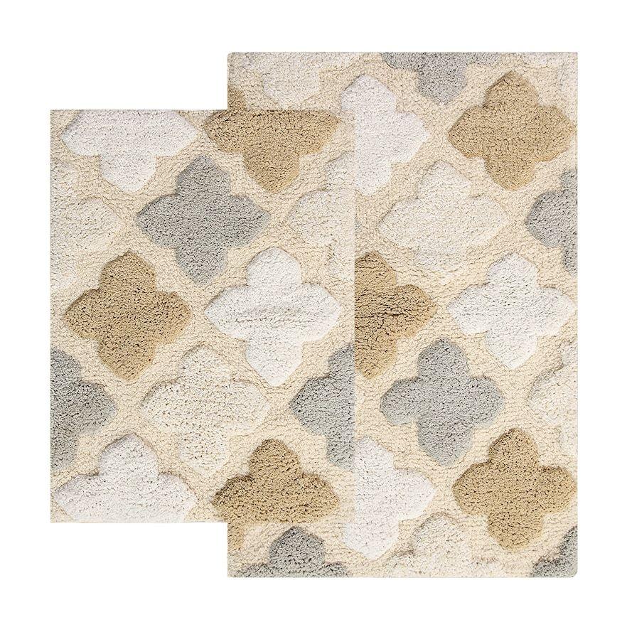 Chesapeake Alloy Moroccan Tiles 2 Piece Bath Rug Set White