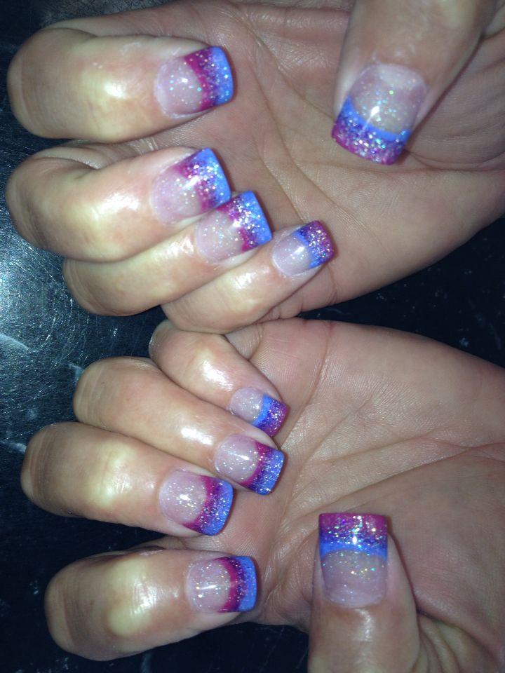 Pink topaz purple and blue fade French manicure | acrylic nails ...