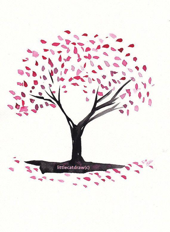 Cherry Blossom Tree - Art Print of Drawing art illustration 5x7