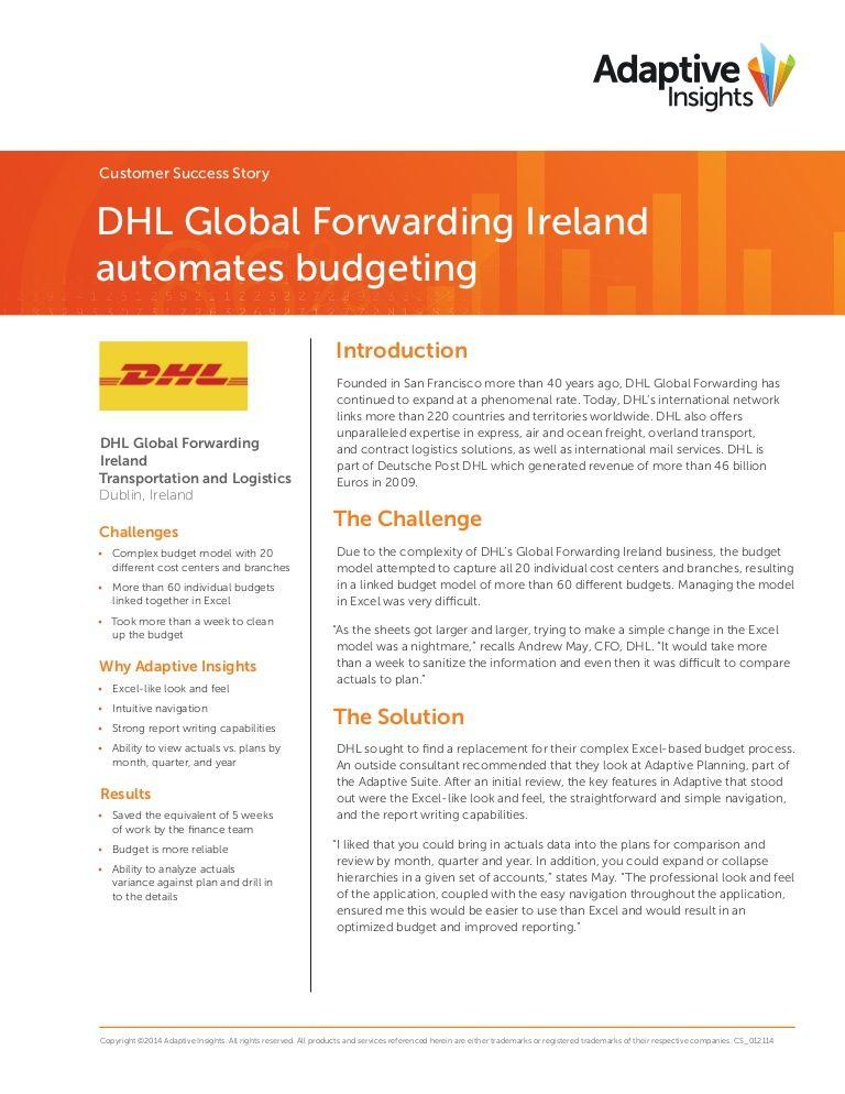 Adaptive Insights: DHL - A Customer Success Story by