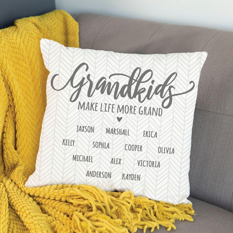 Grandkids Make Life More Grand Personalized Throw Pillow Personalized Planet Personalized Throw Pillow Throw Pillows Pillow Crafts
