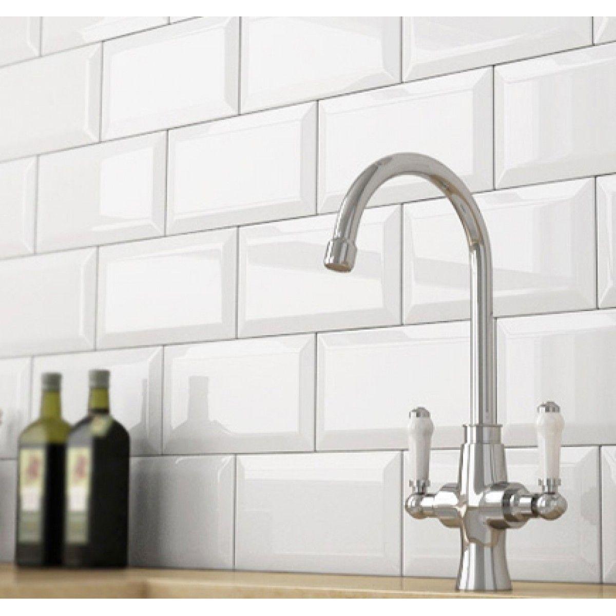 Crown Tiles   White Metro Belvelled Wall Tiles - Crown Tiles   Metro ...