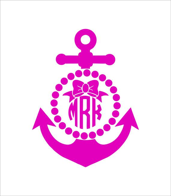 Car Monogram Decal With Anchor Bow And Polka Dot Border On Etsy 798