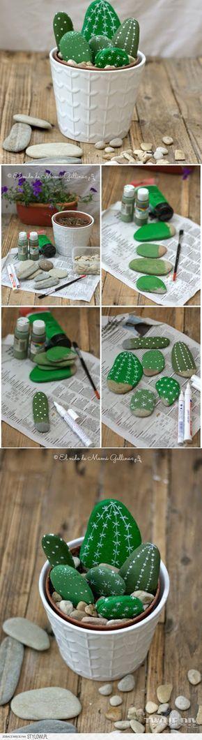 Kaktus #steinebemalenkinder