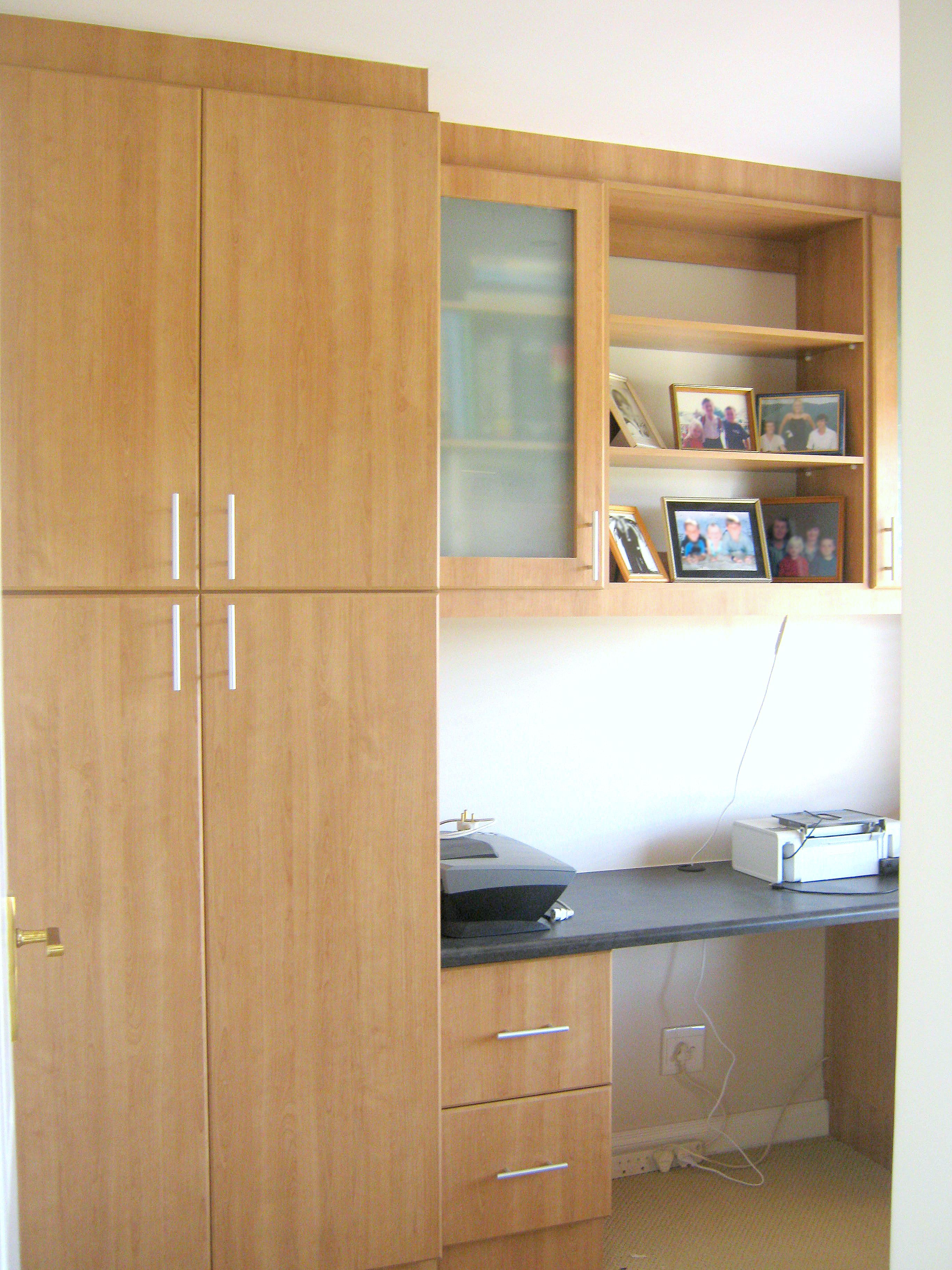 Created By Dimension Cabinets Memphis Cherry Melamine Office Cupboard And Black Slate Tops With Shelving Storag Cabinet Tall Cabinet Storage Office Cupboards